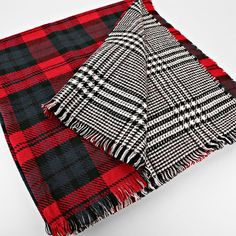 Reversible Tartan Plaid Blanket Scarf - Red and Navy