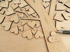 Wedding Guest Book Wooden Hearts DIY Tree, Personalised, Rustic, Chic, Vintage,
