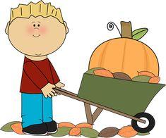 Boy Pushing Pumpkin in a Wheelbarrow Clip Art - Boy Pushing Pumpkin in a Wheelbarrow Image Halloween Goodies, Fall Halloween, Fall Clip Art, Winter Songs, School Pictures, Wheelbarrow, Art Images, Autumn Leaves, Painted Rocks