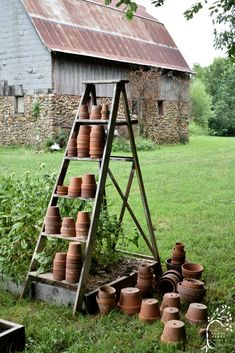 Create a beautiful flower garden using vintage finds like an old ladder and terra cotta pots. #flowergarden 3vintagegardenjunk #gardenladder #terracottapots