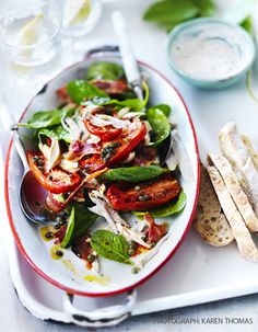 Roast tomato and chicken salad with pecorino cream Also try  http://www.sainsburysmagazine.co.uk/blog/books/item/warm-butter-bean-chicken-and-chorizo-salad