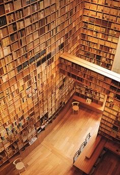 Library designed by Tadao Ando for the Shiba Ryotaro Memorial Museum in Osaka (2001). I just got chills.