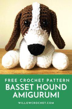 Crochet Dog Patterns, Crochet Bunny Pattern, Amigurumi Patterns, Baby Patterns, Crochet Cross, Free Crochet, Different Crochet Stitches, Basset Hound Dog, Stuffed Animal Patterns