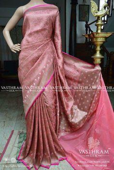 Baby pink banarasi silk whatsapp:+91 7019277192 Pink Saree Silk, Baby Pink Saree, Indian Silk Sarees, Pure Silk Sarees, Indian Bridal Outfits, Indian Bridal Wear, Indian Dresses, Formal Saree, Banarsi Saree