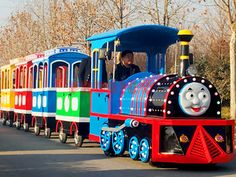 Thomas Trackless Train-Train Rides-Amusement Equipment Manufacturer-Prodigy Rides-New Park Rides Manufacturer & Park Overall Planning Specialist Pirate Ship For Sale, Barrel Train, Amusement Park Rides, Zhengzhou, Thomas The Train, Indoor Playground, Train Rides, Roller Coaster