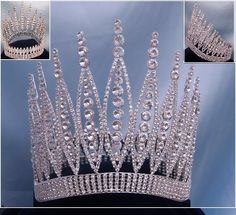 RHINESTONE PAGENT CROWNS | ... Rhinestone Beauty Pageant Full Silver Crown - RoyaltyCrowns.com