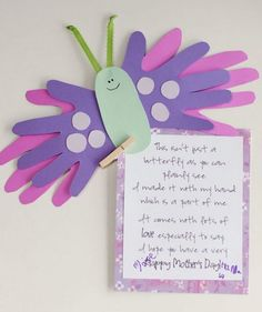 Mother Day Handprint Poem Butterfly - Handprint And Footprint Art Handprint Crafts For Mothers Day - Best Mother's Day Crafts and Arts Kids Crafts, Mothers Day Crafts For Kids, Daycare Crafts, Fathers Day Crafts, Classroom Crafts, Toddler Crafts, Preschool Crafts, Mothers Day Cards Homemade, Easy Mothers Day Crafts For Toddlers