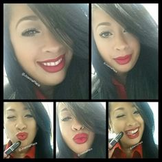 Wearing Mac Cosmetics lip prolong wear in kiss me quick and retro matte lipstick in relentlessly red