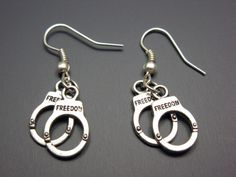 Handcuffs Earrings  hand cuffs punk jewelry emo cute by Szeya, $10.00