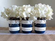 Nautical Baby Shower Centerpiece, Navy Blue and White Stripes Distressed Mason Jar, Nautical Mason Jars, Rustic Home Dec Deco Baby Shower, Baby Shower Parties, Baby Shower Themes, Baby Boy Shower, Shower Ideas, Baby Showers, Nautical Bridal Showers, Nautical Party, Nautical Baptism