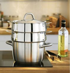 Steam broccoli while you steam dumplings while you cook your soup with these stackable pots from IKEA. Stacking steamers save water, energy, space and time!