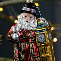 Father Christmas Beefeater with Big Ben Mouth-Blown Glass Christmas Tree Bauble Christmas Tree Baubles, Father Christmas, Big Ben, Boutique, Holiday Decor, Handmade, Papa Noel, Hand Made, Craft