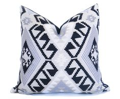 Kilim decorative pillow cover in shades of black, white, gray and off-white. Large print woven fabric adds a dramatic pop to your decor!  - Decorative Pillow