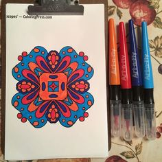 Little quickie coloring from this half page by Ligia Ortega from Adult Coloring Book Treasury 2 using my new brush markers for the first time. http://amzn.to/29YkQO3  #treasurycoloring #coloringtreasury #treasury2 #icoloredit #suziqcreations #artnfly #coloringbooks