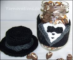 Tuxedo Crochet Jar Cozy with Chocolate Covered Almonds.