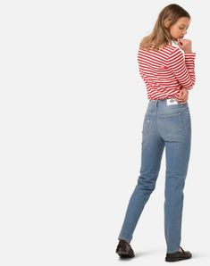 Mom Jeans mit hoher Taille und Five Pocket Stil. Mom Jeans, Vegan, Denim, Pants, Fashion, Trousers, Clothing, Woman, Trouser Pants