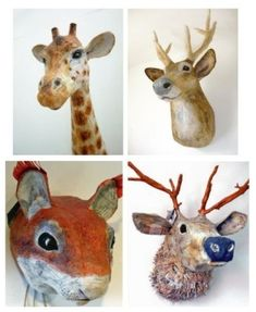 paper mache animal heads by janie