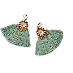 Tassel Earrings, Jade Green Fringe Earrings, Hippie Earrings, Bohemian... (€38) ❤ liked on Polyvore featuring jewelry and earrings