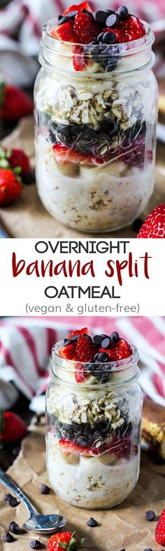 Overnight Banana Split Oatmeal – Emilie Eats - This classic dessert gets a healthy breakfast makeover! Make some Overnight Banana Split Oatmeal to - Oatmeal In A Jar, Overnight Oatmeal, Making Oatmeal, Oatmeal Diet, Vegan Oatmeal, The Banana Splits, Yummy Food, Tasty, Classic Desserts