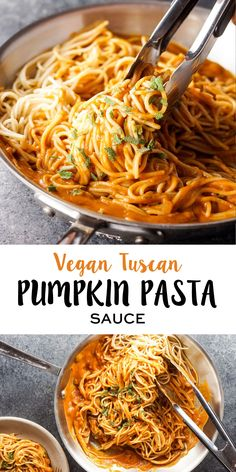 This Vegan Tuscan Pumpkin Pasta is Fall comfort food at its best. The dairy-free sauce takes just minutes to prepare, and it's perfect over your favorite gluten-free pasta or spiralized veggies for a healthy meal!