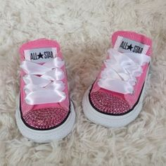 Adorable Pink Bling'd Out Converse Shoes with Pink Rhinestones. Toddler sizes from ILoveCuteShoes.com