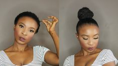 How To   Top Knot High Bun on Short Natural Hair