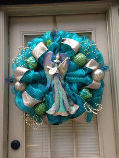 Turquoise Angel Christmas Wreath