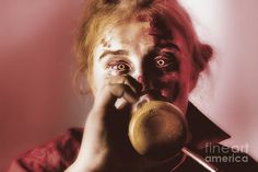 Creepy portrait of a drunken female ghoul drinking beer at Halloween party event by Ryan Jorgensen