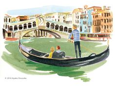 ayako onozuka #illustration #Watercolor #Landscape #italia #イラストレーション #イタリア #ヴェネツィア #ゴンドラ #Venezia
