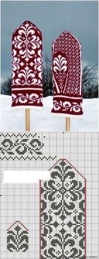 Варежки Knitting Charts, Loom Knitting, Knitting Stitches, Knitting Patterns Free, Free Knitting, Knitting Socks, Baby Knitting, Knitted Mittens Pattern, Crochet Mittens
