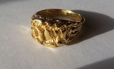 VINTAGE ART DECO 14K GOLD PLATED NUGGET MENS RING SIZE : 14 #NUGGET