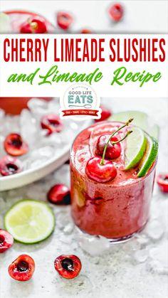 Cherry Limeade Recipe, Slushie Recipe, Smoothie Drinks, Smoothie Recipes, Smoothies, Alcohol Drink Recipes, Punch Recipes, Kitchen Recipes, Cooking Recipes