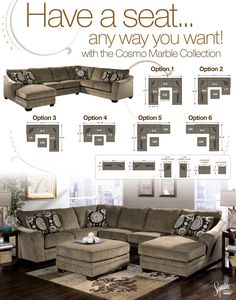 Signature Design by Ashley Cosmo - Marble Sectional Sofa with Chaise Lounger - L Fish - Sofa Sectional Indianapolis, Greenwood, Greenfield, Fishers, Noblesville, Carmel, Avon, Plainfield, IN
