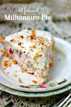 Easy, no bake Millionaire pie is a creamy dessert that's jam-packed with coconut, Maraschino cherries, pineapple, and toasted pecans. It's the perfect recipe for potlucks and other summer parties because it leaves you plenty of time to enjoy the party! #restlesschipotle #pie #nobake #recipes #best #easy #pineapple #coconut #cream #pecans #millionaire