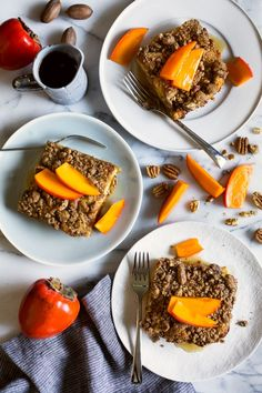 A make-ahead breakfast bread pudding topped with a pecan crumble topping, persimmons and maple syrup. Perfect for Christmas morning! Make Ahead Breakfast, Sweet Breakfast, Healthy Breakfast Recipes, Brunch Recipes, Fall Recipes, Real Food Recipes, Dessert Recipes, Holiday Recipes, Breakfast Ideas