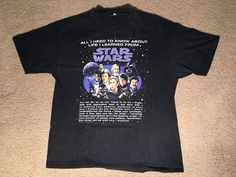 "Vintage 1996 ""ALL I NEED TO KNOW ABOUT LIFE I LEARNED FROM STAR WARS"" T-Shirt XL #Hanes #GraphicTee"