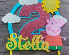 Excited to share this item from my shop: Peppa Pig Cake Topper Diy Cake Topper, Cake Topper Tutorial, Birthday Cake Toppers, Cumple Peppa Pig, Mini Party, Pig Birthday, Scrapbook, Birthday Party Decorations, Party Package