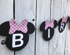 Items similar to Pink and White Polka Dots Minnie Mouse Banner on Etsy