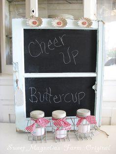 window frame chalkboard - what a great idea!