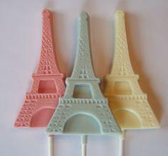 Parisian themed bridal shower chocolate eiffel tower lollipops