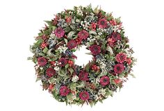 """30"""" Fern & Ammobium Wreath Materials: natural leaves/hydrangea/ammobium/natural grass/german statice/fern/globe/zinnia; Size: 30"""" x 30"""" x 7""""; Color: red; Care: Recommended for use indoors, out of direct sunlight."""
