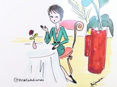 La reconocida diseñadora de joyas encuentra una forma de expresar lo cotidiano y placentero del día a través de el dibujo