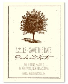 Unique Wedding Save the Date on Plantable Seeded Paper ~ Living Tree by ForeverFiances Weddings. This Tree wedding suite is framed perfectly with a hand drawn artistic representation of an old tree. Made with recycled paper and plantable. Unique Wedding Save The Dates, Unique Weddings, Wedding Paper, Wedding Cards, Woodsy Wedding, Green Wedding, Tree Wedding Invitations, Seed Paper, Save The Date Cards