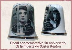 DEDAL CONMEMORATIVO DEL CINCUENTA ANIVERSARIO DE LA MUERTE DE BUSTER KEATON 4€ Dedal de porcelana con diferentes imágenes de Buster Keaton