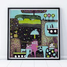 Original lino print in limited edition Painting Prints, Wall Art Prints, Fine Art Prints, Print Calendar, Colorful Wall Art, Linocut Prints, Lovers Art, Fine Art Paper, Landscape
