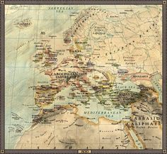 SEE MORE ON MY WEBSITE - www.halcyonmaps.com/ CHECK OUT MAP OF THE INTERNET! - jaysimons.deviantart.com/art/M… Europe in year 800 A.D., Winkel Tripel Projection. Boundaries and cities reflec...