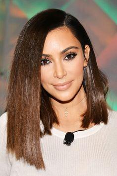 Kim Kardashian's chocolate brown lob, a subtle Jane Lane from Daria reference?
