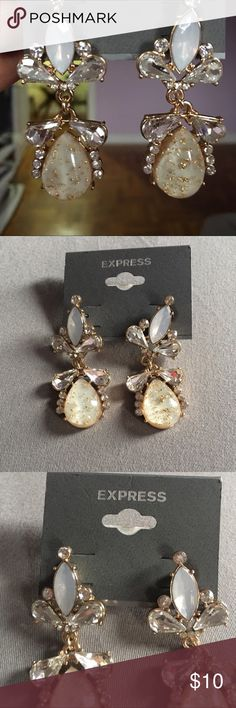 Express Long earrings Express Earrings Teardrop Crystal Gold Sparkling Stone Dangling Rhinestone. Express Jewelry Earrings