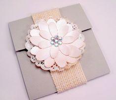 Elegant Handmade Flower Wedding Invitation Vintage Shabby Chic. $10.95, via Etsy.