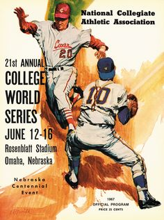 1967 college world Series program Student Grants, College World Series, Nebraska, Athletic, Trains, Weapons, Tools, Baseball, Space